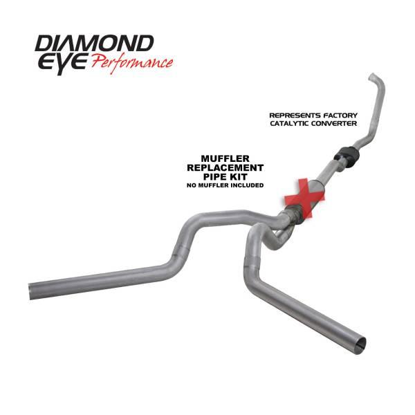 "Diamond Eye  - DIAMOND EYE 03-07 6.0L 4"" Aluminized turbo back dual exhaust NO muffler - DE-K4336A-RP"