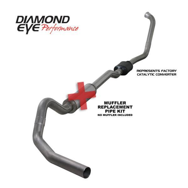 """Diamond Eye  - 03-07 6.0L 4"""" Stainless Turbo Back Single NO muffler - DE-K4334S-RP"""