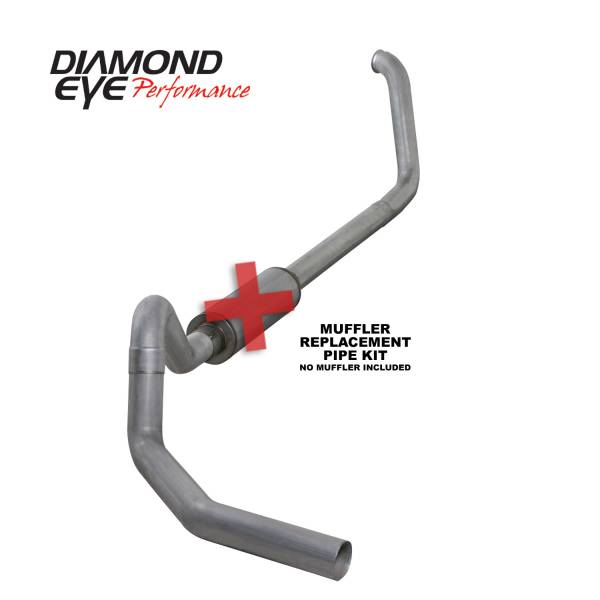 "Diamond Eye  - DIAMOND EYE 99-03 7.3L 4"" Aluminized turbo back single NO muffler - DE-K4326A-RP"