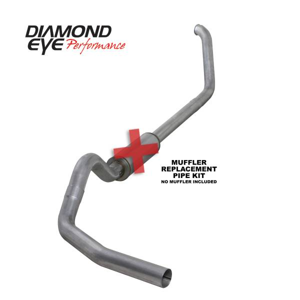 "Diamond Eye  - DIAMOND EYE 99-03 7.3L 4"" Aluminized turbo back single exhaust NO muffler - DE-K4318A-RP"