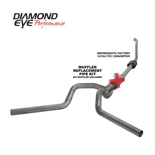 "Diamond Eye  - DIAMOND EYE 94-97 7.3L 4"" Stainless turbo back dual exhaust NO muffler - DE-K4308S-RP"