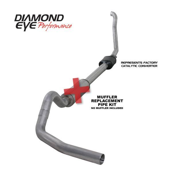 "Diamond Eye  - DIAMOND EYE 94-97 7.3L 4"" Aluminized turbo back single exhaust NO muffler - DE-K4306A-RP"
