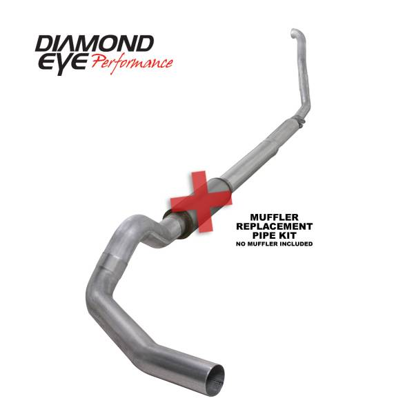 "Diamond Eye  - DIAMOND EYE 94-97 7.3L 5"" Aluminized turbo back single NO muffler - DE-K5315A-RP"