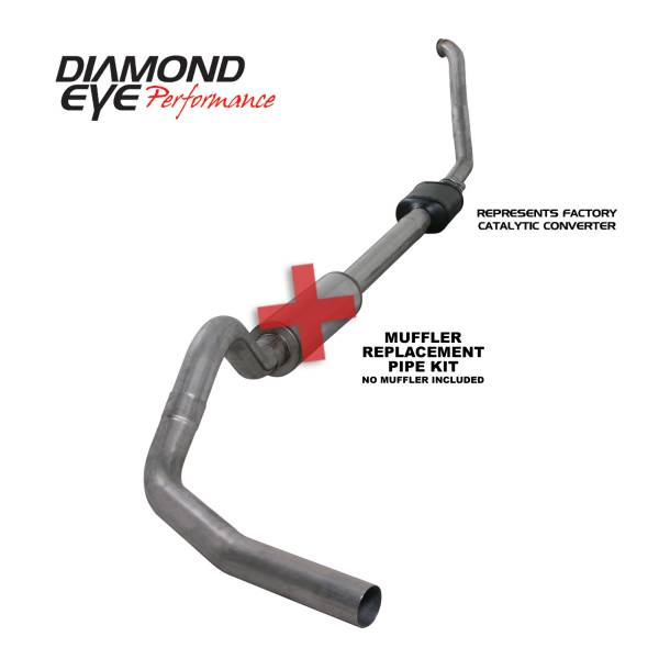 "Diamond Eye  - DIAMOND EYE 94-97 7.3L 4"" Stainless turbo back single NO muffler - DE-K4306S-RP"