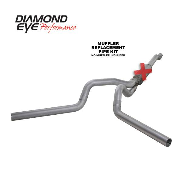 "Diamond Eye  - 03-07 6.0L 4"" Aluminized Cat Back Dual Exhaust NO muffler - DE-K4340A-RP"