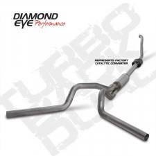 "POWERSTROKE 94-97 - EXHAUST 94-97 - Diamond Eye  - DIAMOND EYE 94-97 7.3L 4"" Stainless turbo back dual exhaust W/ muffler - DE-K4308S"