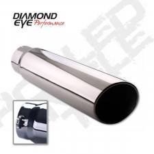 "Exhaust - Exhaust Tips - Diamond Eye  - DIAMOND EYE 3.5"" - 4"" Polished 304 Stainless tip bolt on rolled angle 12"" long - DE-354512BRAC"