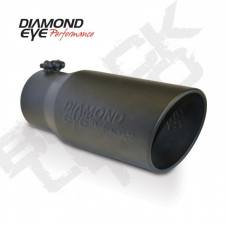 "Exhaust - Exhaust Tips - Diamond Eye  - DIAMOND EYE Black bolt-on rolled angle cut - logo embossed 4"" ID x 5"" OD x 12"" long - DE-5612BRADEBK"