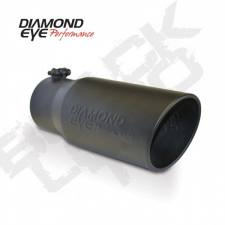 "Exhaust - Exhaust Tips - Diamond Eye  - DIAMOND EYE Stainless bolt-on rolled angle  logo embossed 4"" x 5"" x 12"" long black - DE-4512BRADEBK"