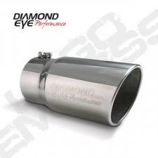 Exhaust - Exhaust Tips - Diamond Eye  - DIAMOND EYE Stainless bolt on rolled angle logo embossed polished 4 x 5 x 12 long - DE-4512BRA-DE