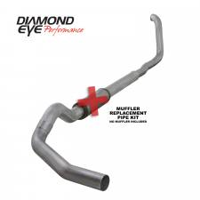 "Diamond Eye  - DIAMOND EYE  99-03 7.3L 5"" Aluminized turbo back single no muffler - DE-K5322A-RP"